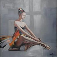 Schilderij -Handgeschilderd - Ballerina - multikleur - 100x100cm