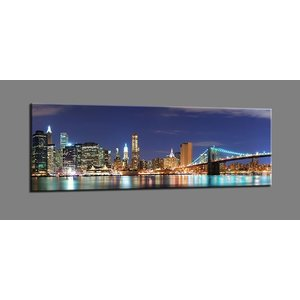 Schilderij - New York Nacht, Multi-gekleurd, 120X40cm, 1luik