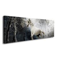 Schilderij - Paard in Bos, Wit/Grijs, 120X40cm, 1luik