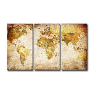 Schilderij - Oude Wereldkaart, Bruin, 120X80cm, 3luik