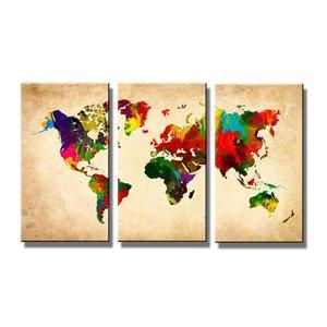 Schilderij - Gekleurde Wereldkaart, 120X80cm, 3luik