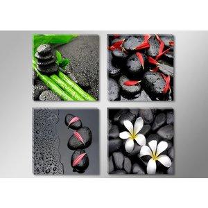 Schilderij - Spa Zwarte Stenen, 4delen van 30X30cm