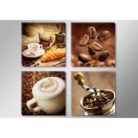 Schilderij - Koffie Collage, Bruin, 4delen van 30X30cm