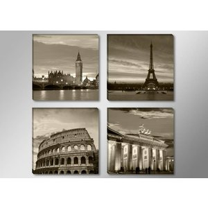 Schilderij - Europese Steden, Sepia, 4delen van 30X30cm