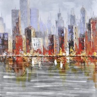 Schilderij -Handgeschilderd - Skyline - multikleur -  100x100cm