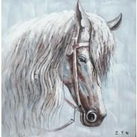Schilderij - Handgeschilderd - Paard 80x80cm