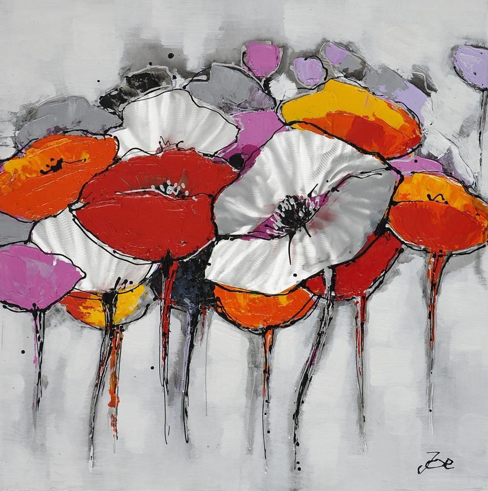 Schilderij -Handgeschilderd - Klaprozenveld - multikleur - 100x100cm