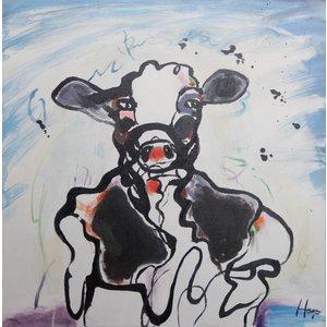 Schilderij - Handgeschilderd - Abstracte koe 80x80cm