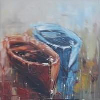 Schilderij - Handgeschilderd - Roeiboten 80x80cm