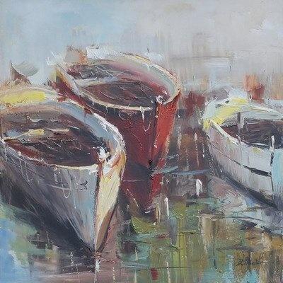 Schilderij - Handgeschilderd - Roeiboten 2 80x80cm