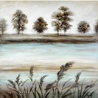 Schilderij -Handgeschilderd - Oever - 100x100cm