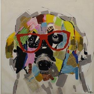Schilderij - Handgeschilderd - Hond 80x80cm