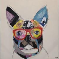 Schilderij - Handgeschilderd - Boston Terrier 80x80cm