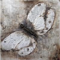 Handgeschilderd  Schilderij - Vlinder - 100x100cm