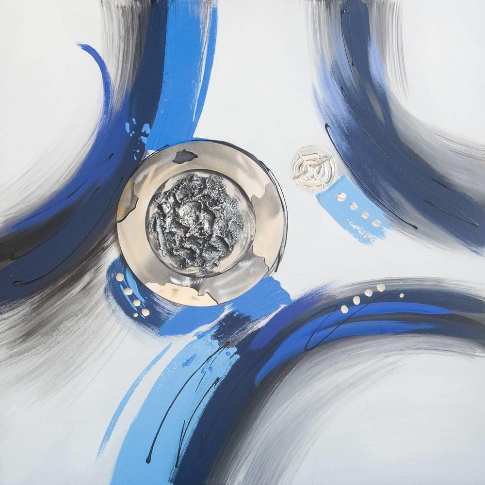 Schilderij -Handgeschilderd - Abstract - Blauw wit - 100x100cm