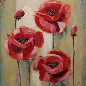 Schilderij - Handgeschilderd - Rode Klaprozen 80x80cm