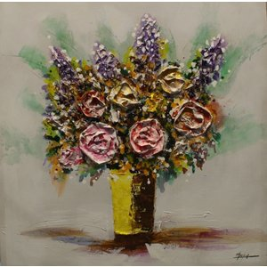 Schilderij - Handgeschilderd - Bos bloemen 80x80cm
