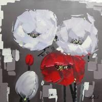 Schilderij - Handgeschilderd - Klaprozen 80x80cm