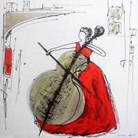 Handgeschilderd  Schilderij - Celliste - multikleur - 100x100cm