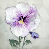 Schilderij -Handgeschilderd - Viooltje - multikleur - 100x100cm
