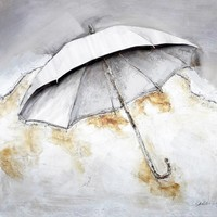 Schilderij -Handgeschilderd - Paraplu - beige wit - 100x100cm
