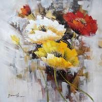 Handgeschilderd  Schilderij - Bloemen - multikleur - 100x100cm