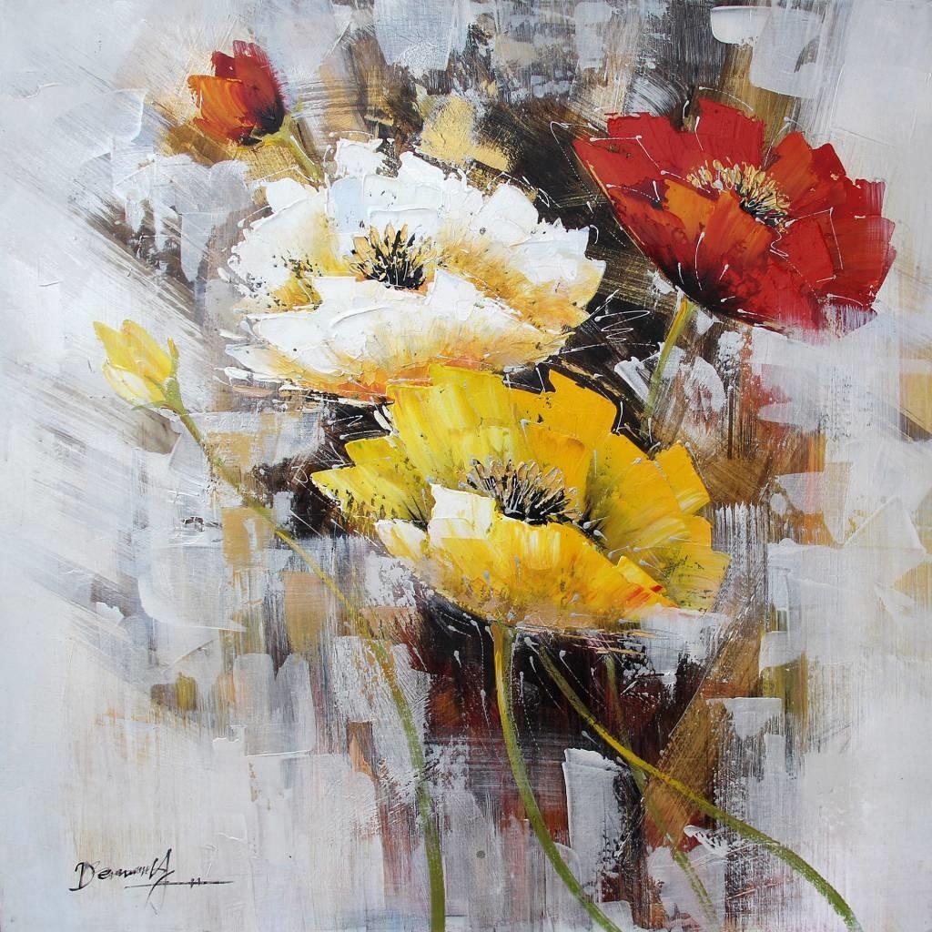 Schilderij -Handgeschilderd - Bloemen - multikleur - 100x100cm