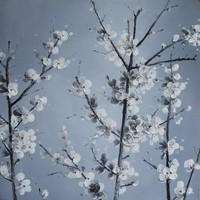 Schilderij - Handgeschilderd - Witte bloesem 80x80cm