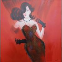 Schilderij -Handgeschilderd - In het rood 100x100cm