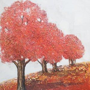 Schilderij - Handgeschilderd - Roze bomen 80x80cm