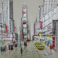 Schilderij -Handgeschilderd - Time Square - multikleur - 100x100cm