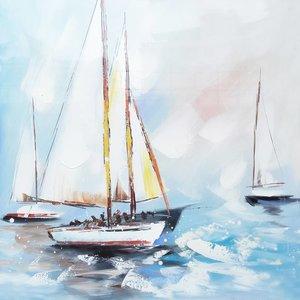 Schilderij - Handgeschilderd - Zeilboten 2, 80x80cm