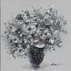 Schilderij - Handgeschilderd - Bos bloemen 3 80x80cm