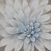 Schilderij -Handgeschilderd - Dahlia - wit blauw - 100x100cm