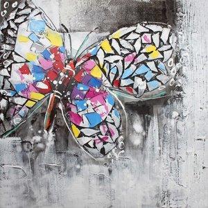 Schilderij - Handgeschilderd - Vlinder 2 80x80cm
