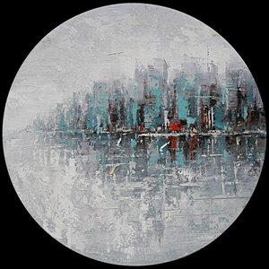 Schilderij - Handgeschilderd - Skyline Abstract 80cm Rond