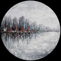 Schilderij - Handgeschilderd - Skyline Abstract 2 ,80cm Rond