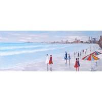 Schilderij - Handgeschilderd - Strandwandeling 150x60cm