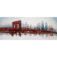 Schilderij - Handgeschilderd - Brooklin Bridge 150x60cm
