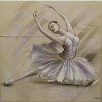 Schilderij -Handgeschilderd - Ballerina - beige 100x100cm