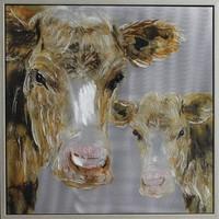 Schilderij -Handgeschilderdj - Koeien - grijs bruin - 100x100cm
