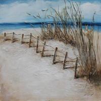 Schilderij -Handgeschilderd - Noordzee - blauw bruin - 100x100cm