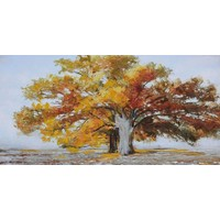 Schilderij - Handgeschilderd - Eenzame boom 2, 150x60cm