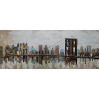 Schilderij - Handgeschilderd - Brooklin Bridge 2, 150x60cm