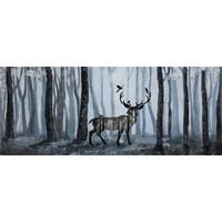 Schilderij - Handgeschilderd - Hert in het bos 150x60cm