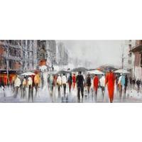 Schilderij - Handgeschilderd - In de regen 150x60
