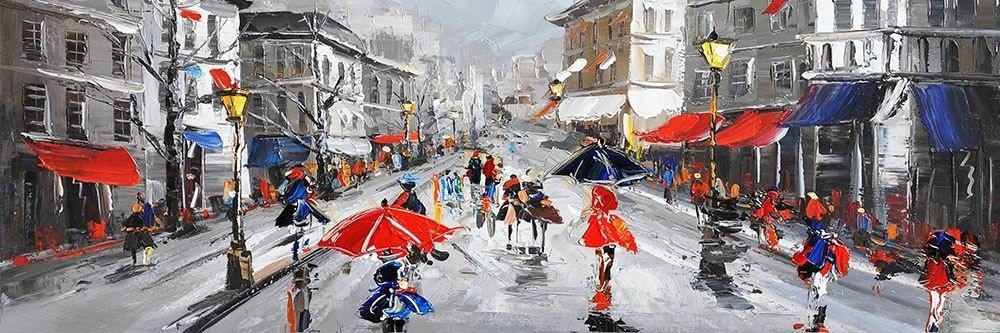 Schilderij - Handgeschilderd - In de regen 2, 150x60cm