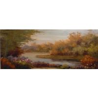 Schilderij - Handgeschilderd - Bos Beekje 150x60cm