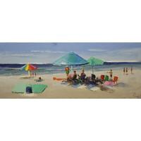 Schilderij - Handgeschilderd - Stranddag 150x60cm