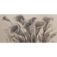 Schilderij - Handgeschilderd - Callalelie Schets 150x60cm
